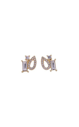 Crystal Shapes Gold Stud Earring by LAST TRUE ANGEL Product photo
