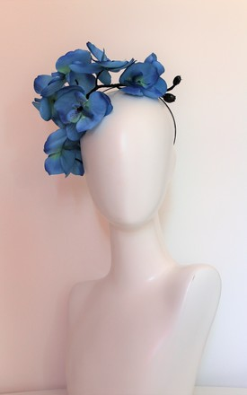 Large blue orchid occasion hairpiece by Kate Coleman