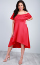 Off Shoulder Dipped Hem Midi Dress in Red by Oops Fashion