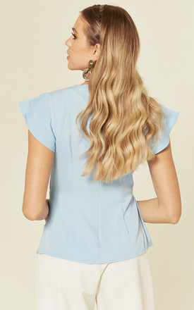 V Neck Wrap Blouse with Cap Sleeves in Sky Blue by Stardust + Steel