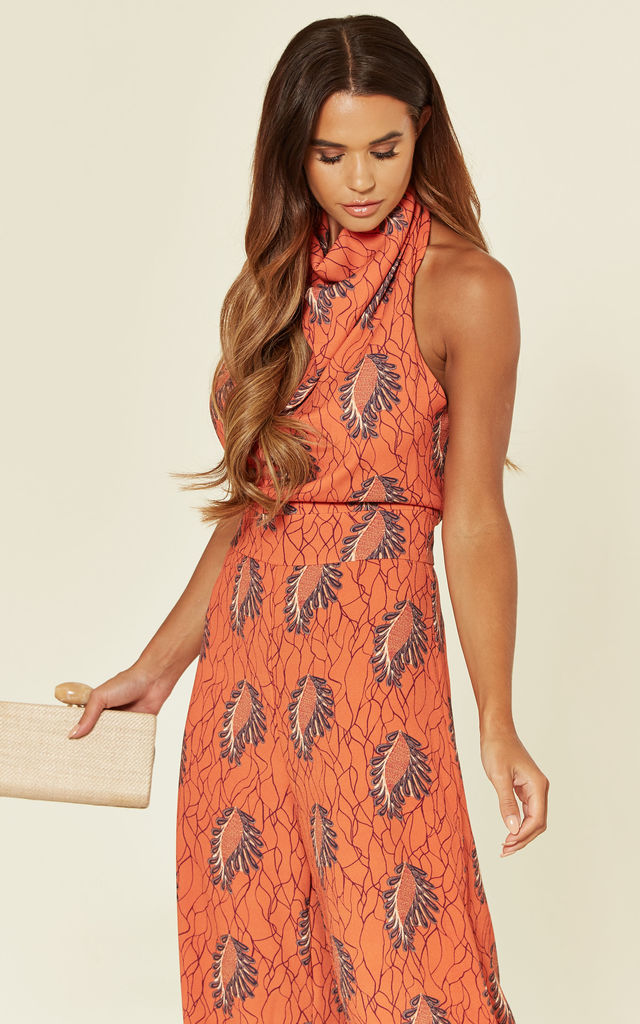High Neck Backless Jumpsuit - Morocco Orange by House Of Lily