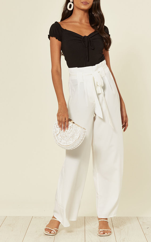 Paper Bag Wide Leg Palazzo Trousers in White by Stardust + Steel