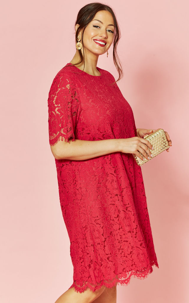 Plus Size short sleeve lace dress in Fuschia by Glamorous