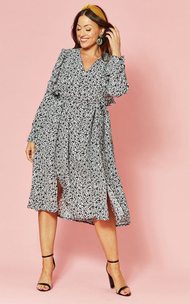 Plus Size Black floral long sleeve ruffle front midi dress by Glamorous