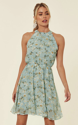 Halter Neck Chiffon Tea Dress In Mint Green Floral Print by TENKI LONDON Product photo