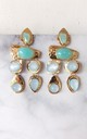 Aqua Blue and Gold Geometric Statement Earrings by Olivia Divine Jewellery