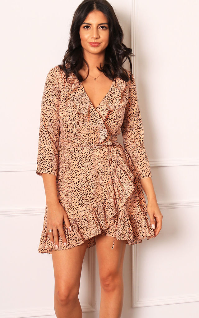 3/4 Sleeve Frill Wrap Mini Dress in Nude & Black Dalmatian Spot by One Nation Clothing