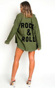 Indigo Oversized Green Jacket with 'Rock & Roll' Shirt by IKRUSH