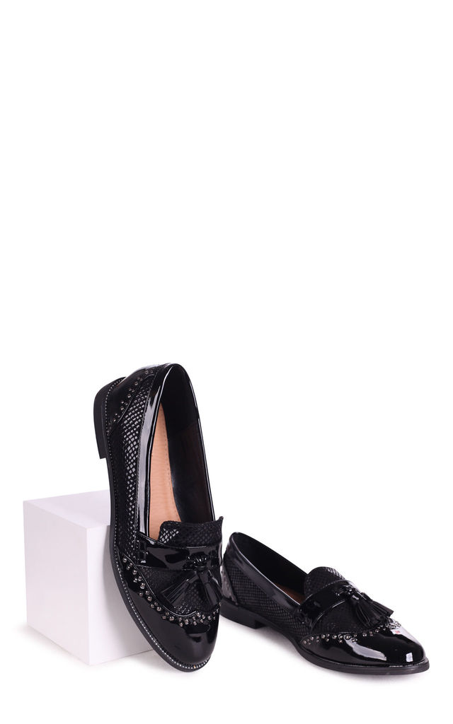 Joanie Black Patent & Lizard Loafers with Tassels by Linzi