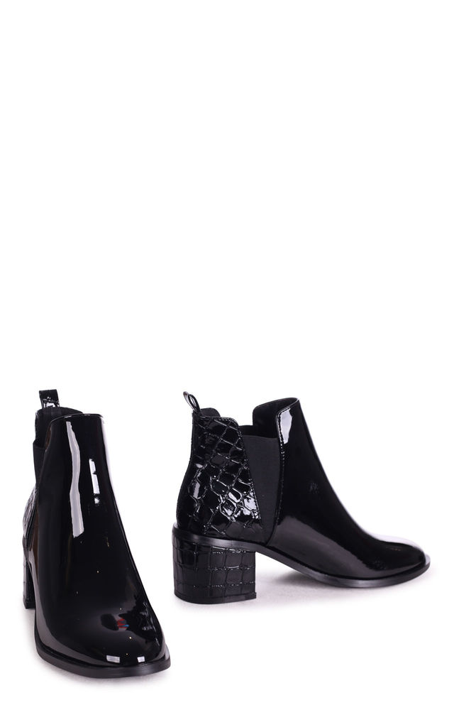 Donna Block Heel Ankle Boots in Black Patent & Croc by Linzi