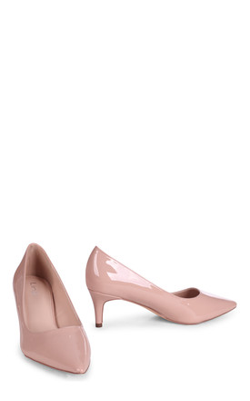 Lucinda Low Heel Court Shoe in Nude Patent by Linzi