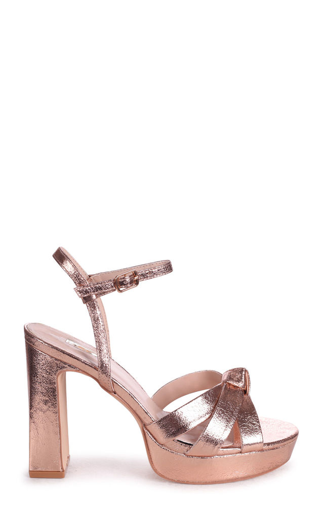 Simone Platform Sandals in Rose Gold Crinkle Faux Leather by Linzi