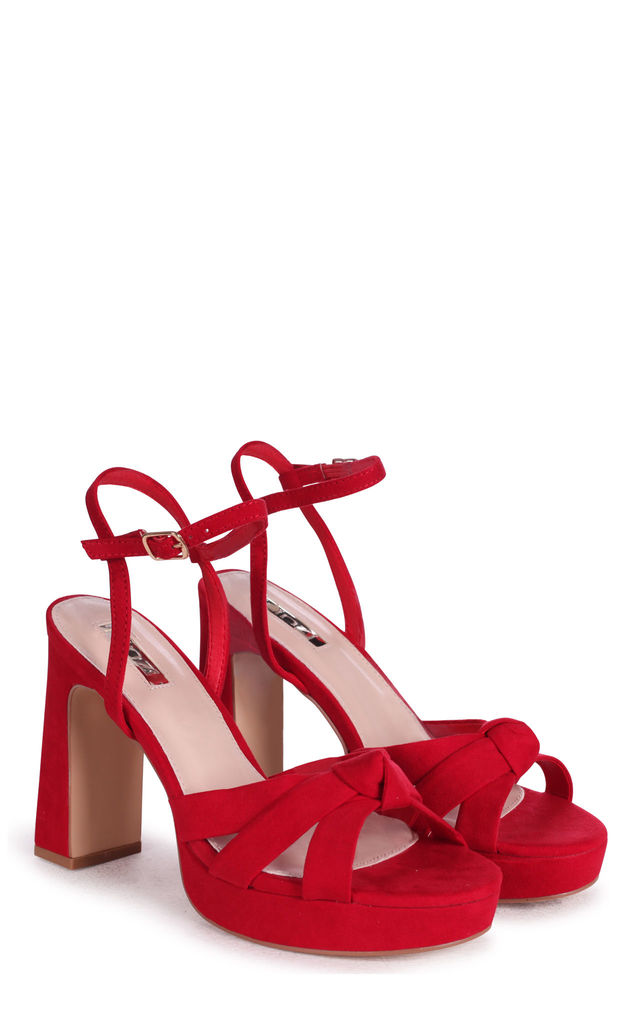 Simone Platform Sandals in Red Suede by Linzi