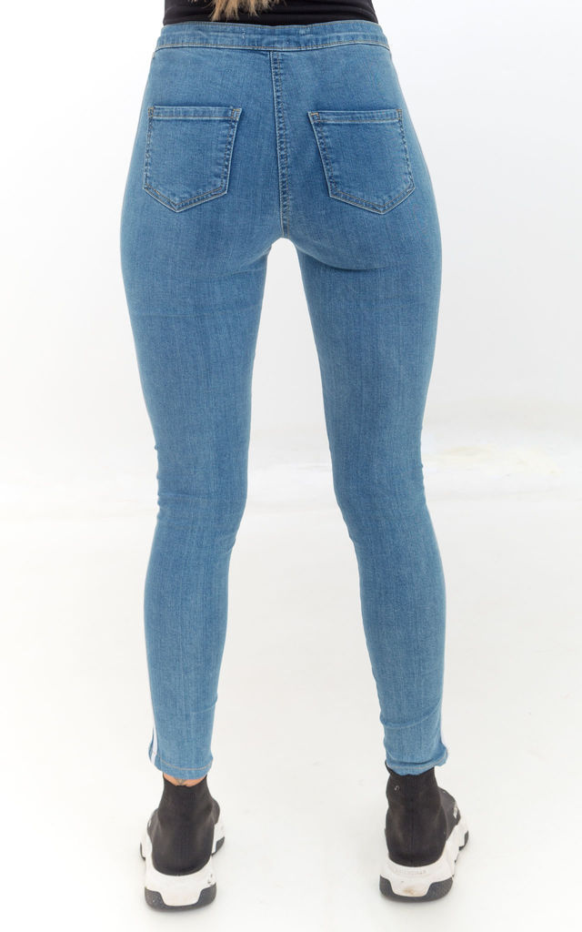 Denim Mid Rise Skinny Jean with Side Stripe by Luna Boutique
