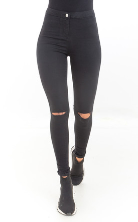 High Waist Skinny Jeans with Rips in Black by Luna Boutique
