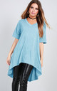 Oversized T-shirt with Dipped Hem in Turquoise by Oops Fashion