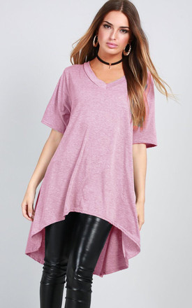 Oversized T-shirt with Dipped Hem in Rose Pink by Oops Fashion