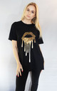 Holographic Gold LIP Drip  T-shirt In Black by Sade Farrell