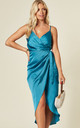 Tie Side Wrap Silky Dress in Bright Teal by Another Look