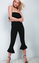 Strapless Frilly Cropped Jumpsuit in Black by Oops Fashion