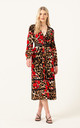 The Kipling Long Sleeve Midi Dress in Red Leopard Floral by LIENA