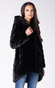 HOODED COAT IN BLACK MINK FAUX FUR by Dursi