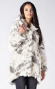 HOODED COAT IN WHITE FOX FAUX FUR by Dursi