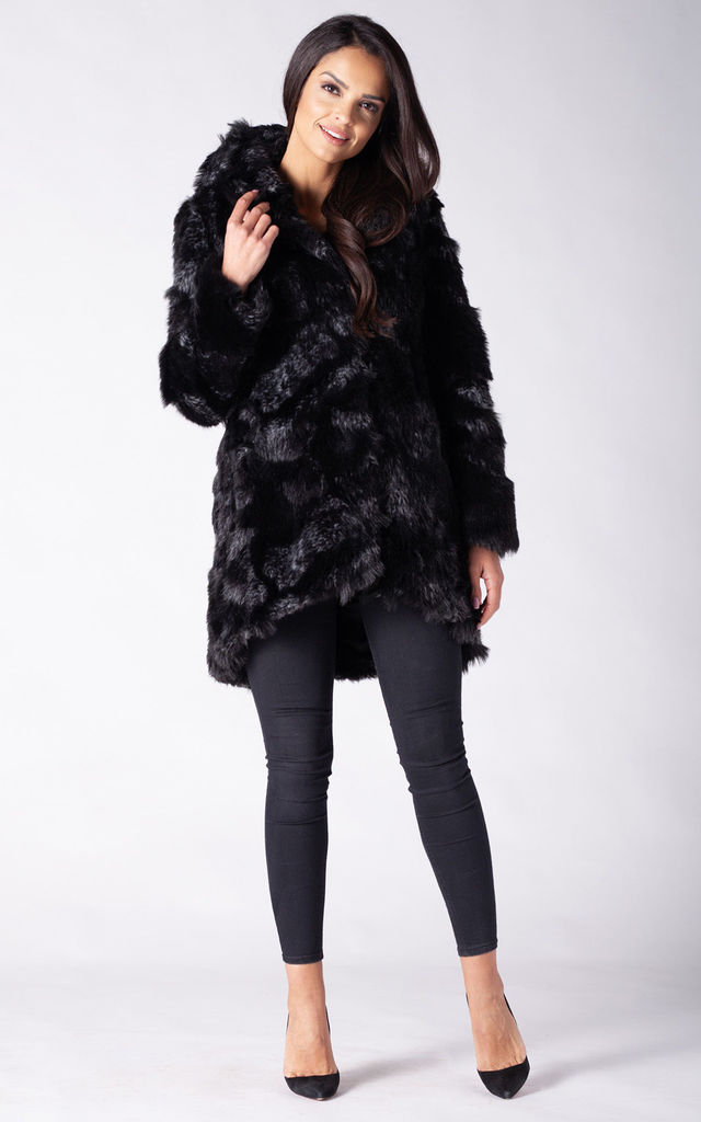 HOODED COAT IN BLACK FOX FAUX FUR by Dursi