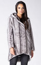 HOODED COAT IN SILVER MINK FAUX FUR by Dursi