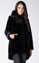 HOODED FAUX FUR COAT IN BLACK by Dursi