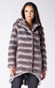 HOODED COAT IN GREY CHINCHILLA FAUX FUR by Dursi