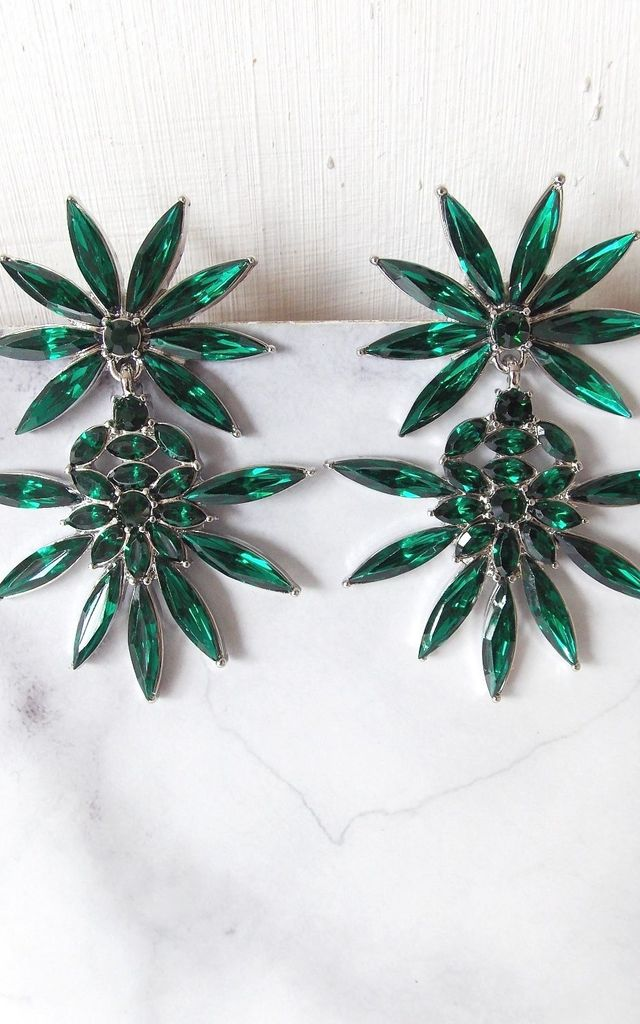 Emerald Green Jewelled Starburst Earrings by Olivia Divine Jewellery