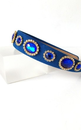 Royal Blue Jewelled Hair Band by Olivia Divine Jewellery