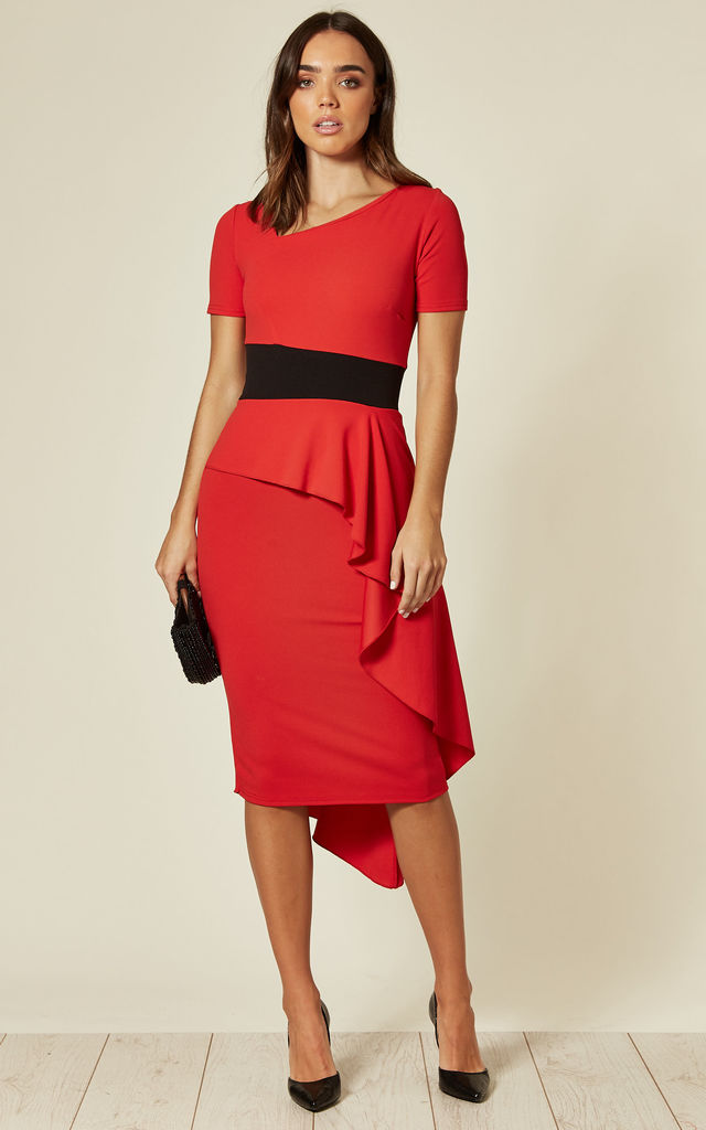 Peplum Drape Contrast Dress in Red by Feverfish