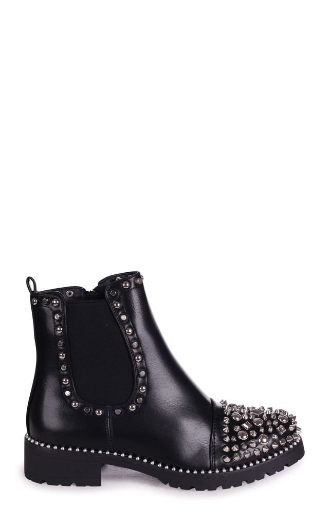 Elle Black Nappa Chelsea Boots with Silver Studs by Linzi