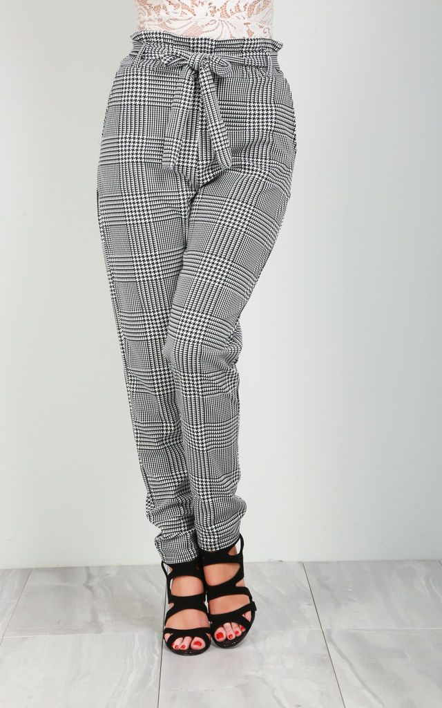 High Waisted Trousers in Monochrome Check by Oops Fashion
