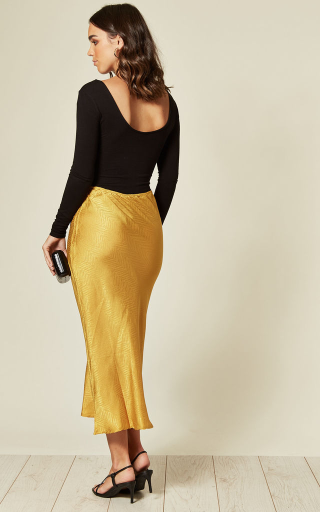 JEMIMA SILKY MIDI SKIRT IN GOLD REPTILE PRINT by Blue Vanilla