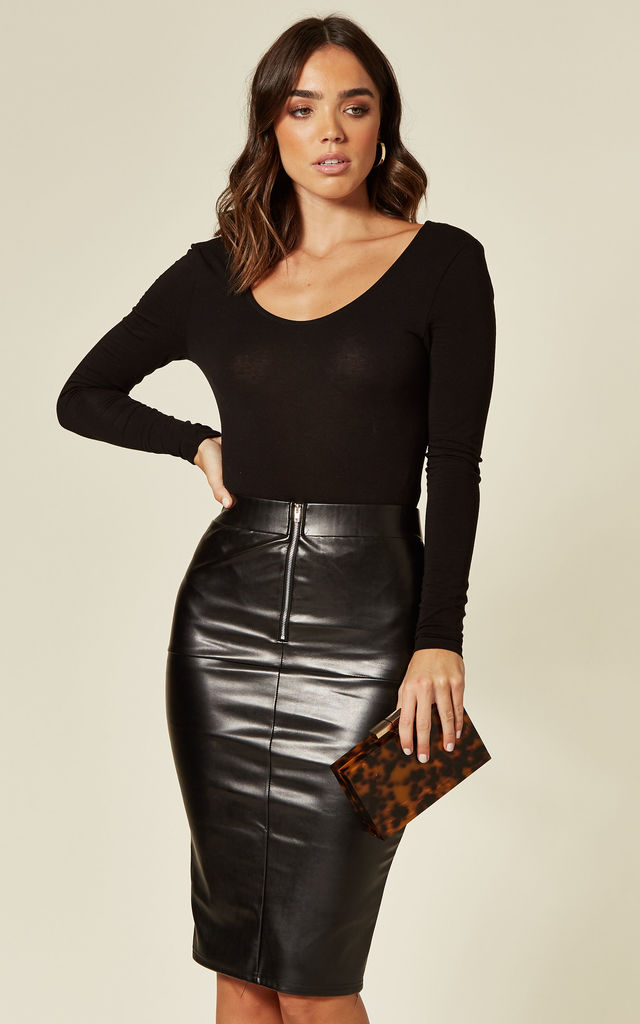 Zip Front Faux Leather Pencil Skirt by Stardust + Steel