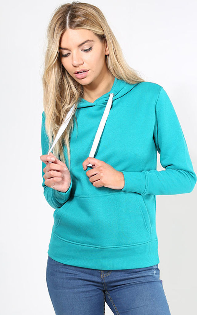 Long Sleeve Drawstring Hoodie in Turquoise by Oops Fashion