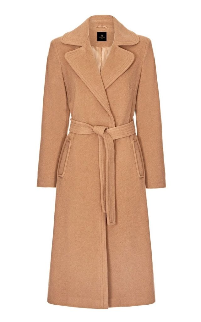Camel Wool and Cashmere Coat with Belt by Anastasia Fashions