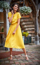Short Sleeve Midi Dress with Waist Tie in Yellow by AWAMA