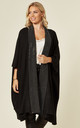 BLING WIDE BORDER HALF SLEEVE CARDIGAN in BLACK by Malissa J Collection