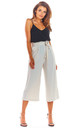 High Waisted Cropped Trousers in Beige by AWAMA