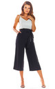 High Waisted Cropped Trousers in Black by AWAMA