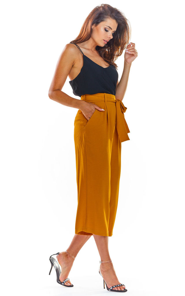 High Waisted Cropped Trousers in Camel by AWAMA