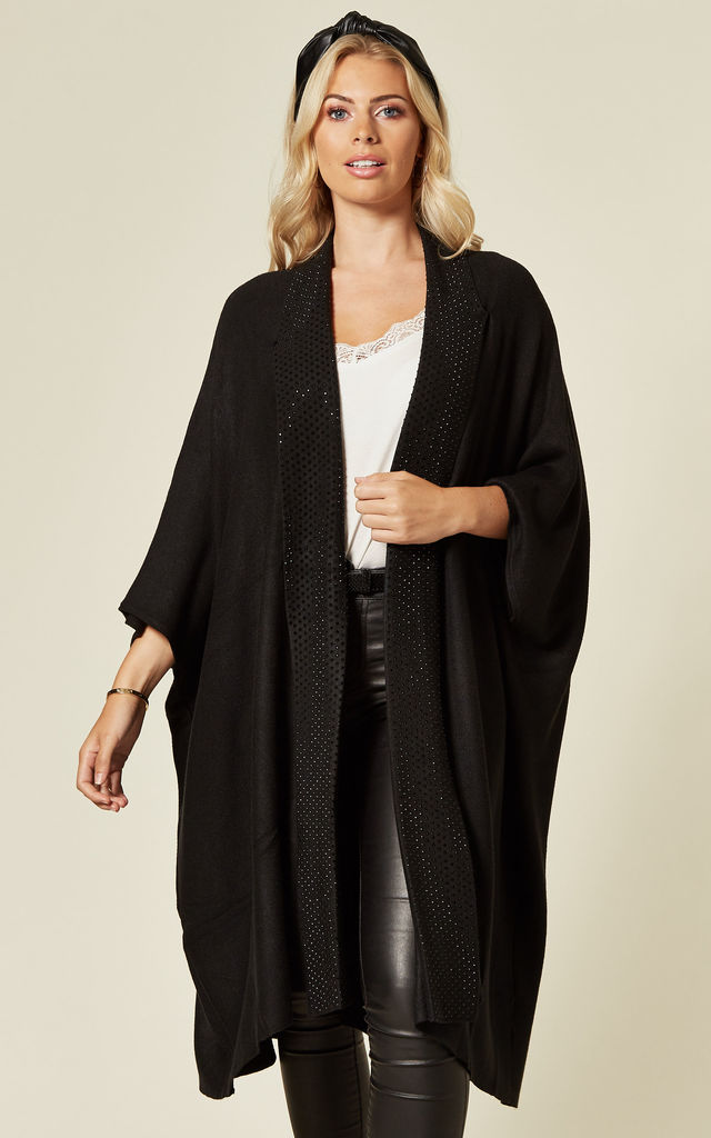 BLING WIDE BORDER HALF SLEEVE CARDIGAN IN JET BLACK by Malissa J Collection