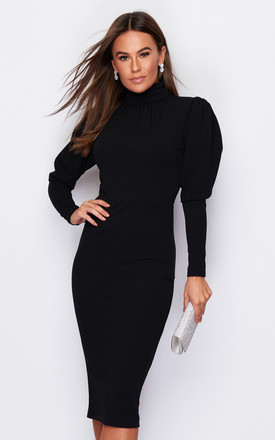 Carla Puff Sleeve High Neck Midi Dress Black by Girl In Mind Product photo