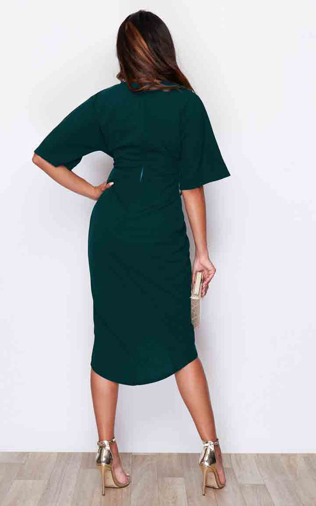 Chelsea Half Sleeve Wrap Detailing Midi Dress Emerald by Girl In Mind