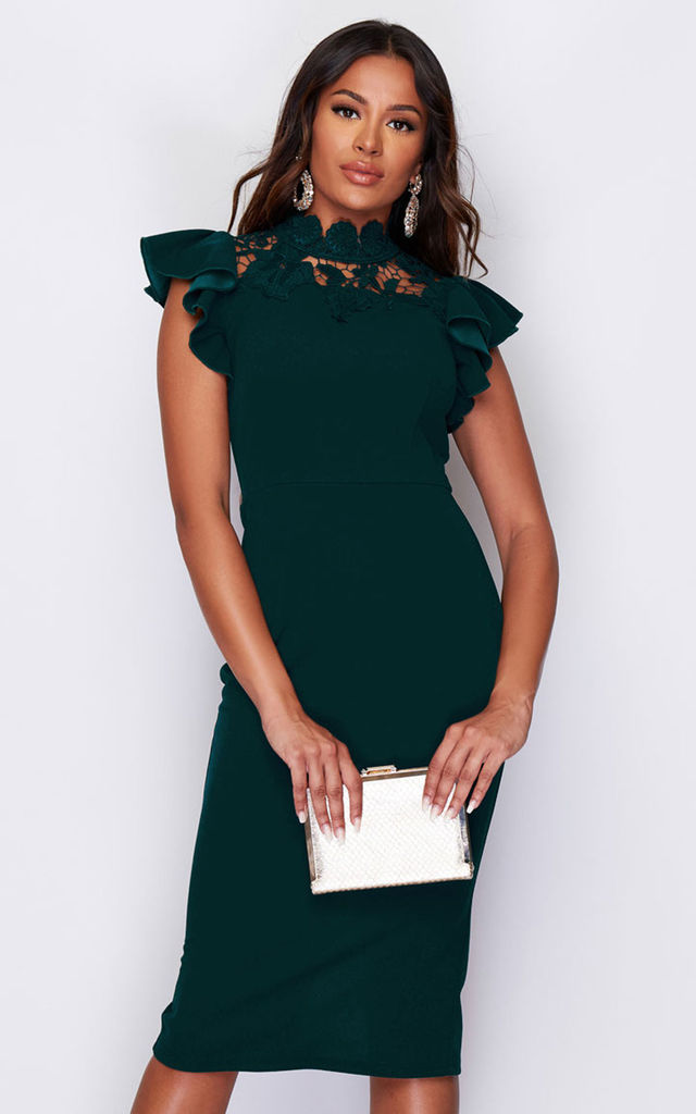 8da86aaa5f Chloe Lace Neck Detail Frill Shoulder Midi Dress Emerald By Girl In Mind