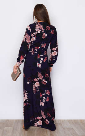 Letitia Split Wrap Maxi Dress Navy Floral Print by Girl In Mind